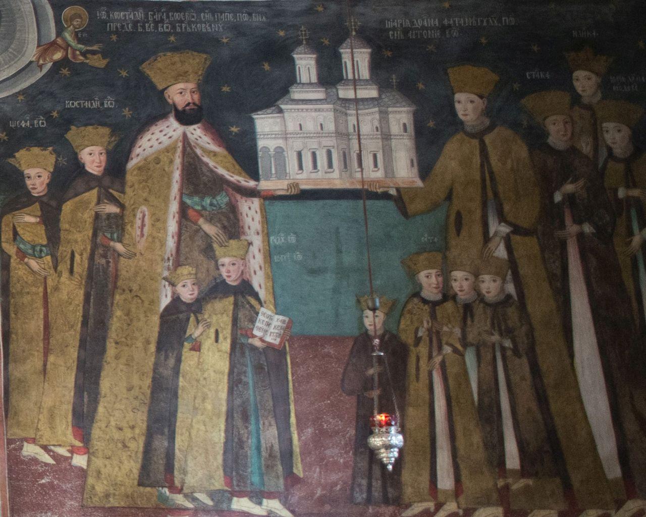 Frescă reprezentându-i pe ctitorii din familia Brâncoveanu