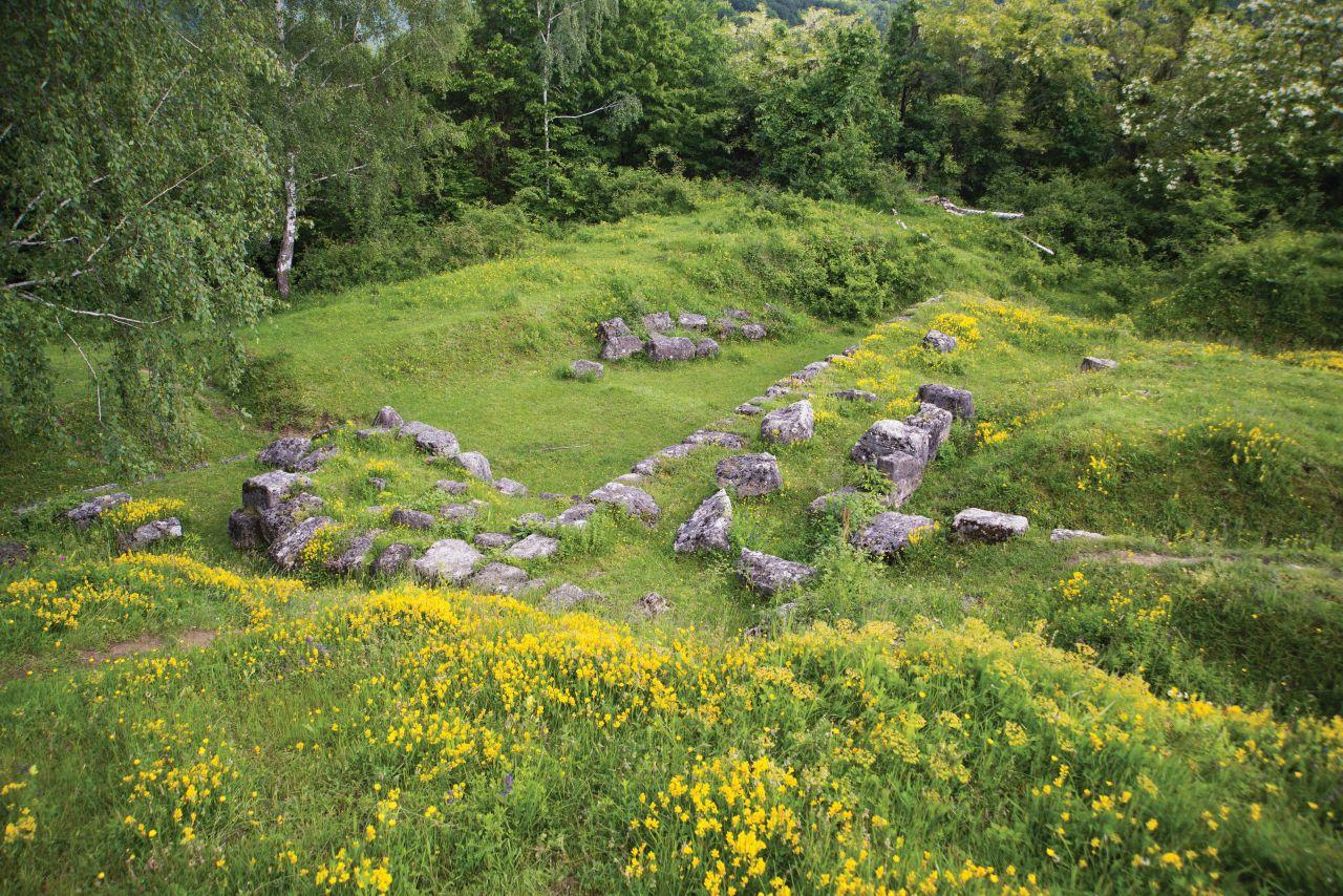 Ruinele cetății sunt acoperite de iarbă