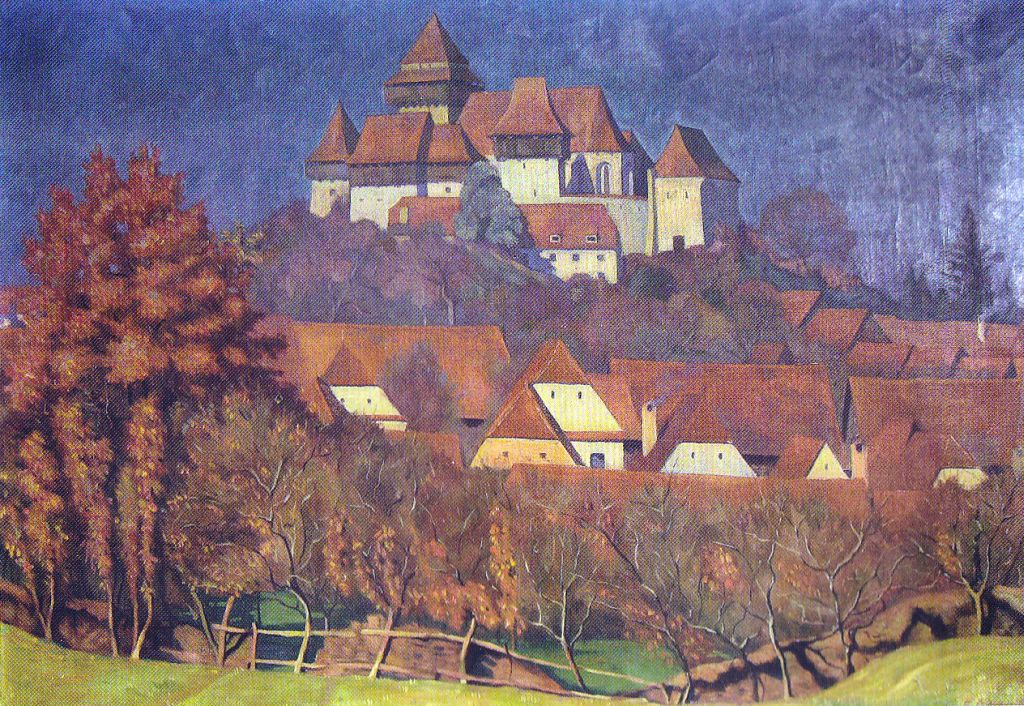 Viscri, pictură de Eduard Morres